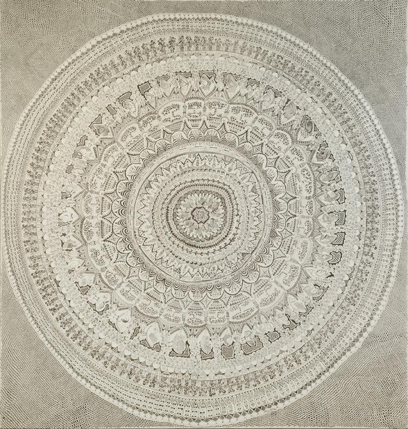 """OPE02 e1518799497585 - Tusche-Zeichnung """"MANDALA"""" 100x100cm"""